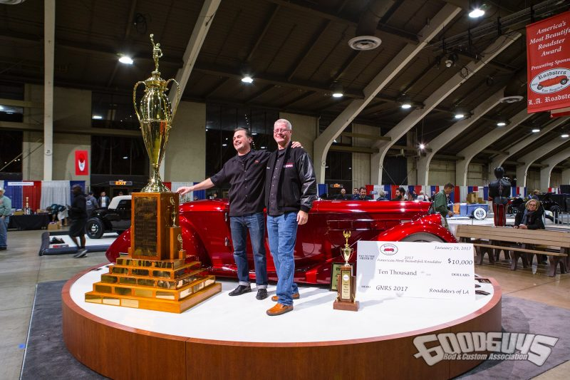 Owner Bruce Wanta (right) and builder Troy Ladd of Hollywood Hot Rods | 2017 AMBR 1936 Packard Mulholland Speester